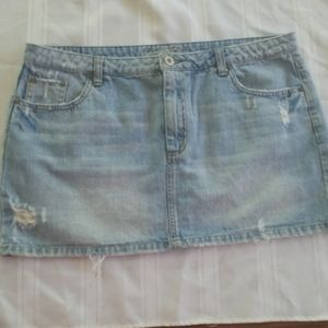 AEO Jean Mini Skirt distressed sz12 LIVE YOUR LIFE